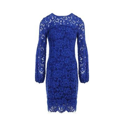 see-through detail lace dress blue